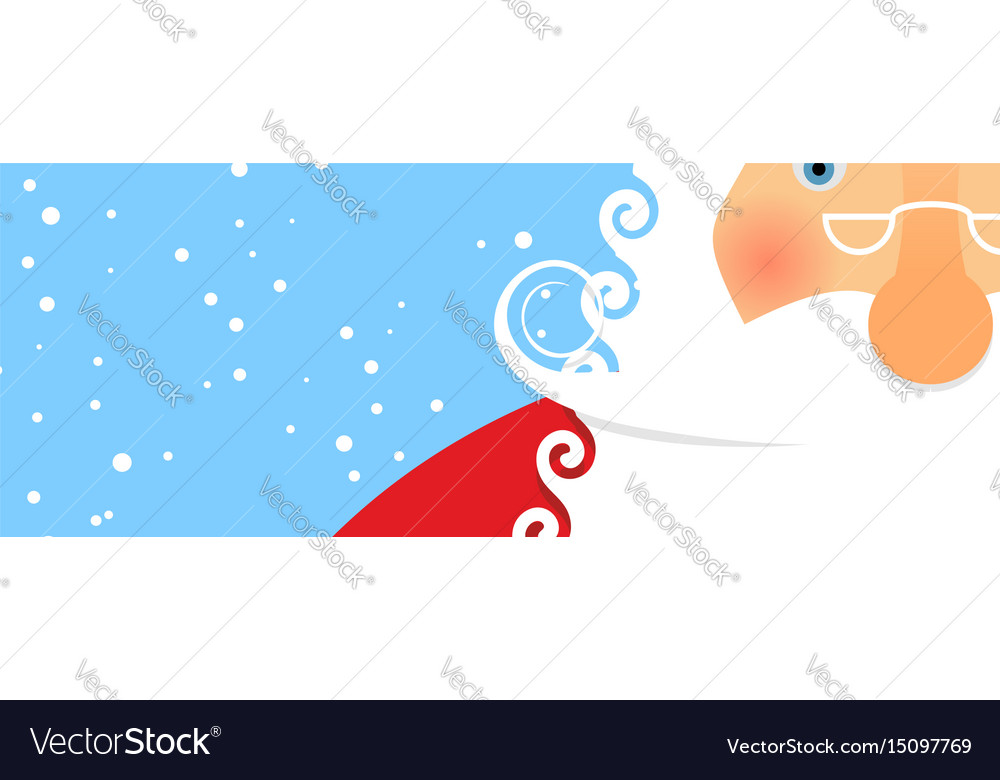 Face santa and snowfall portrait of grandfather vector image