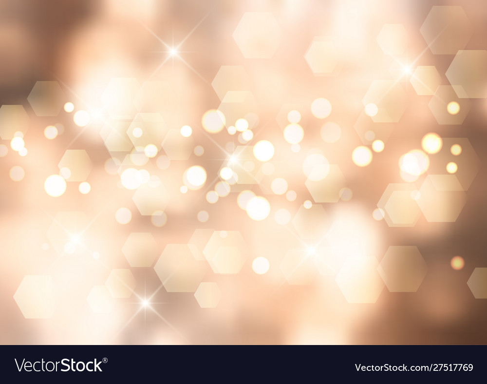 Gold christmas background with bokeh lights and