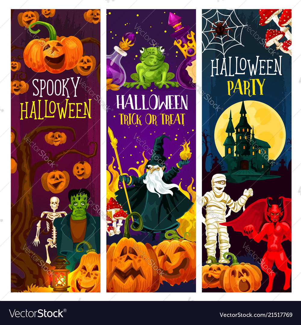 Halloween party banner with trick or treat pumpkin