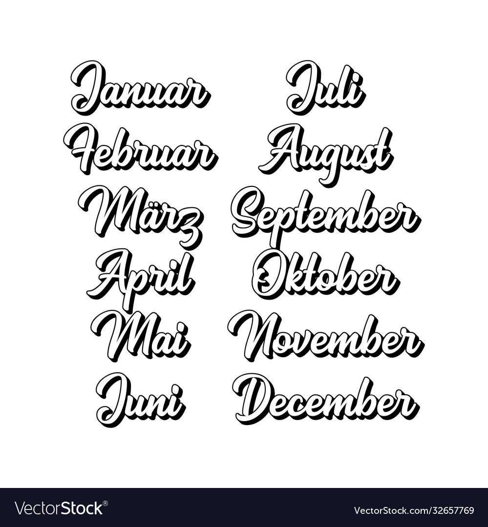 Hand lettered months year set in german