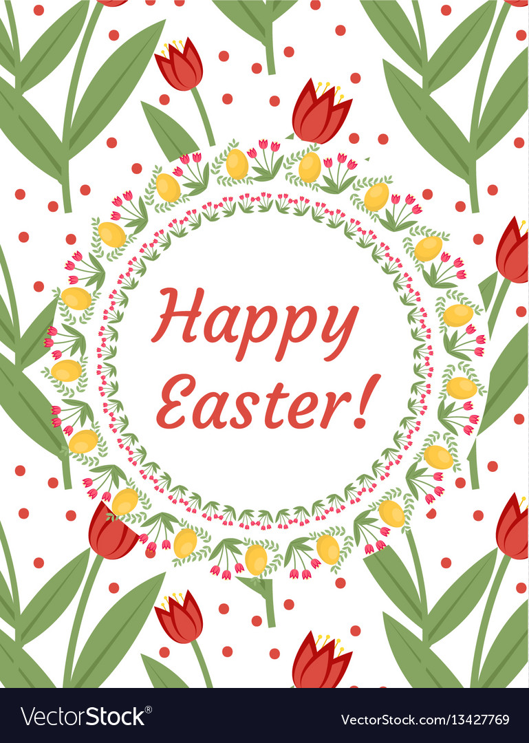 Happy easter greeting card flyer poster with red