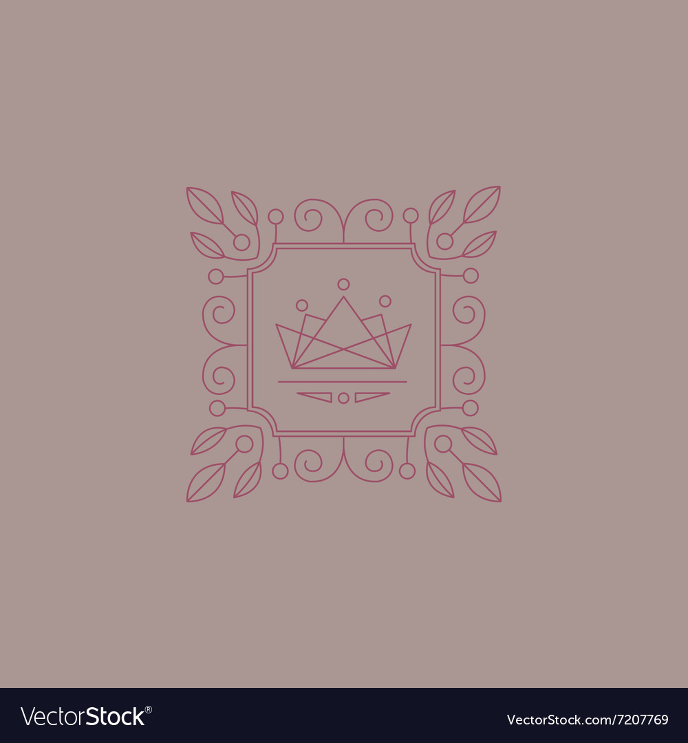 Monogram Design Template with Leaves