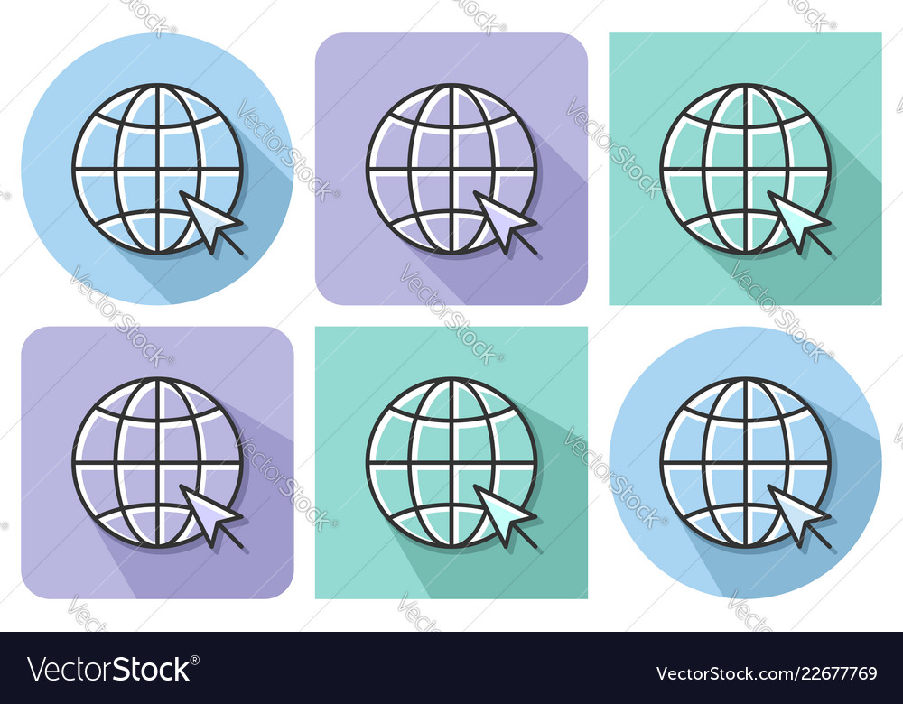 Outlined icon of globe with pointer arrow go to
