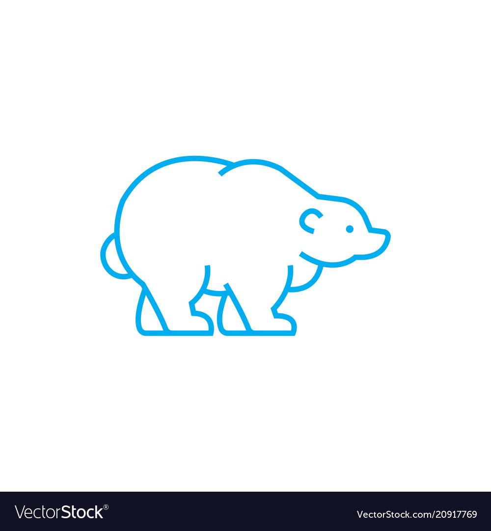 Polar bear linear icon concept polar bear line vector image