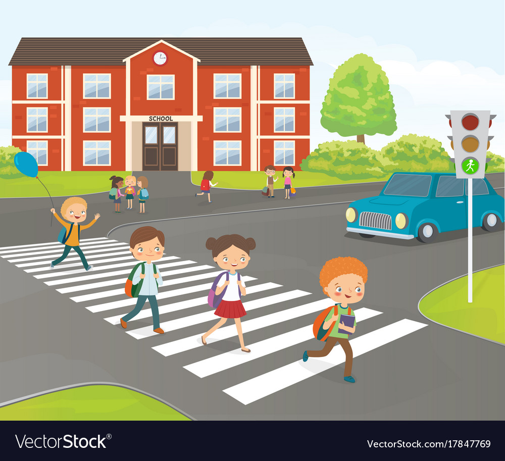 school children cross road on pedestrian crossing vector image clip art zebra print clip art zebra print