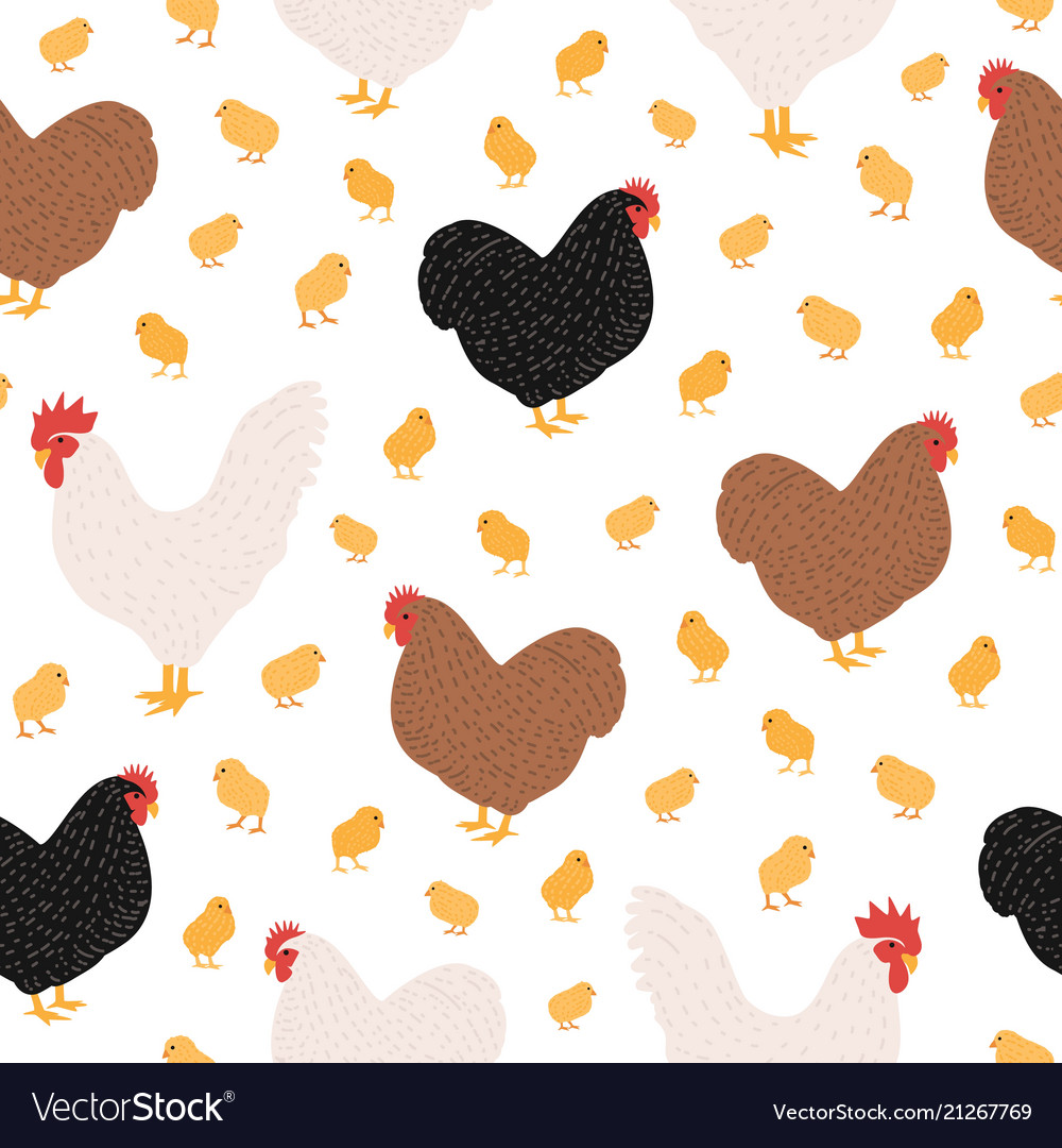 Seamless pattern with domestic birds or farm