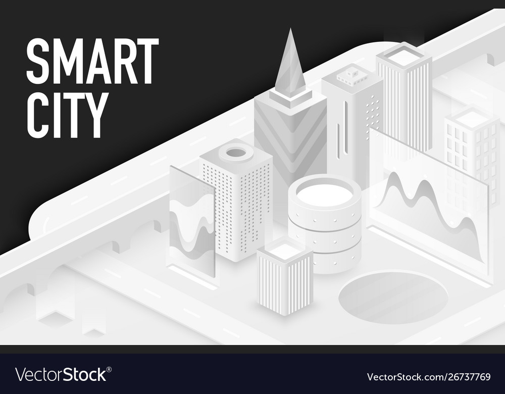 Smart modern city isometric banner template
