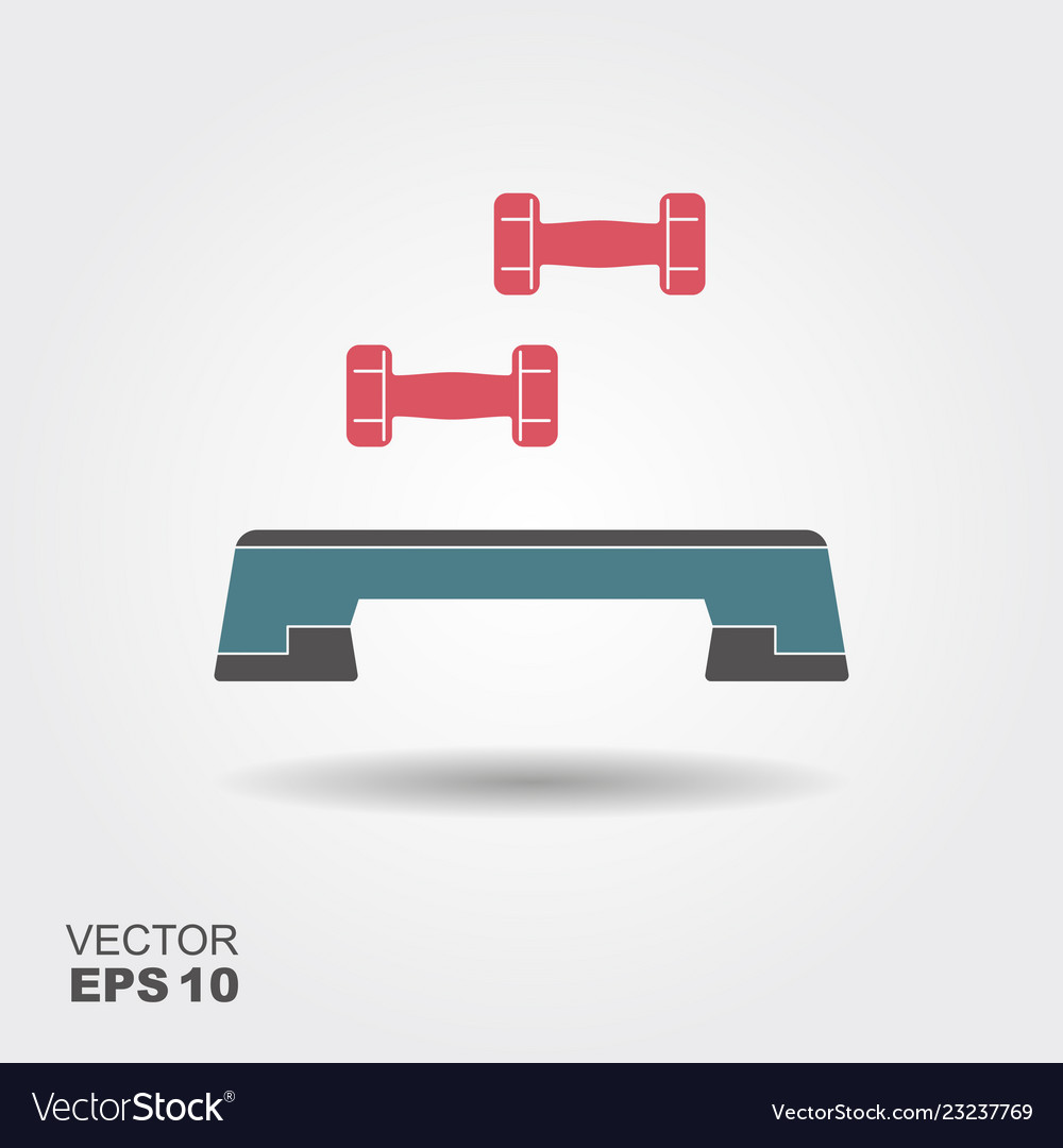 Step board and dumbbells icon flat