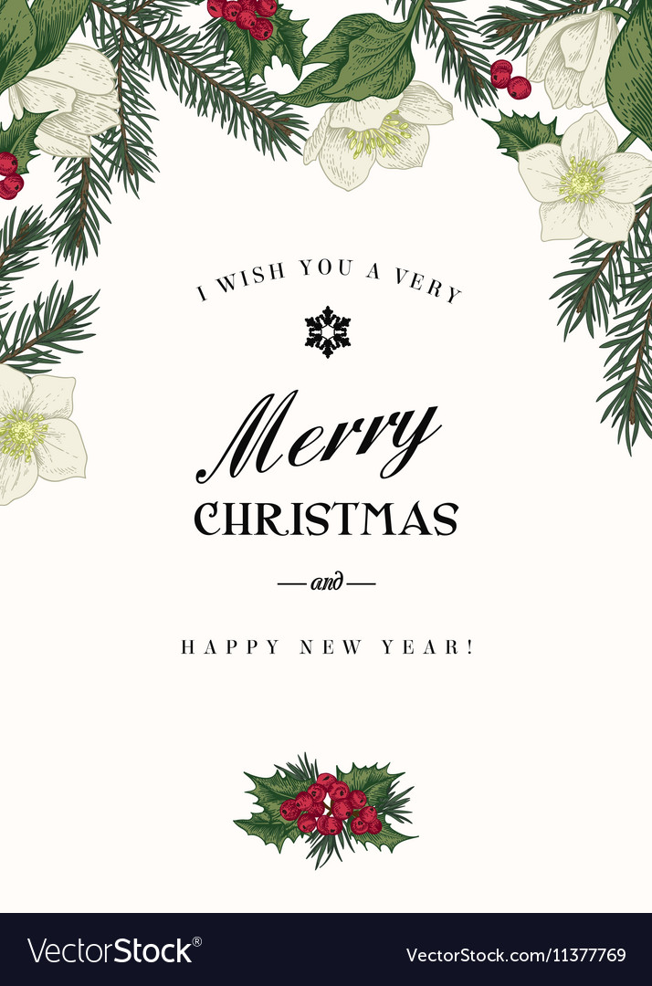Vintage christmas greeting card with branches