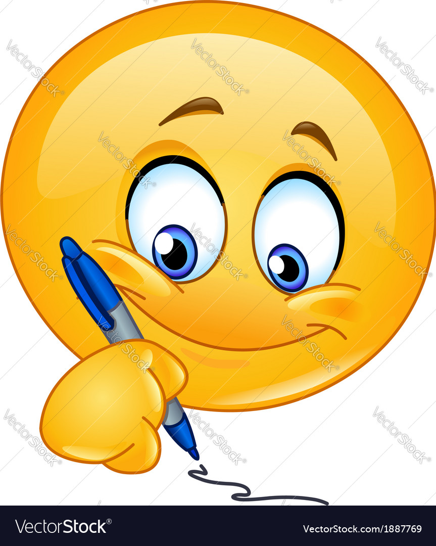Writing emoticon vector image