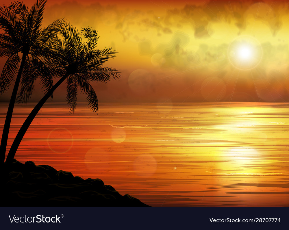 A tropical sunset or sunrise with palm trees