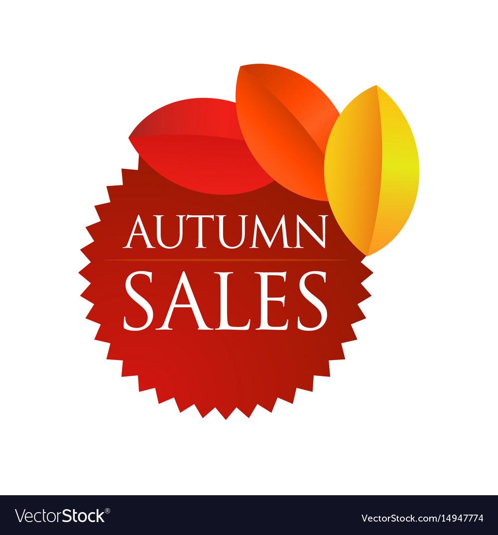 Autumn sales - brown round emblem vector image