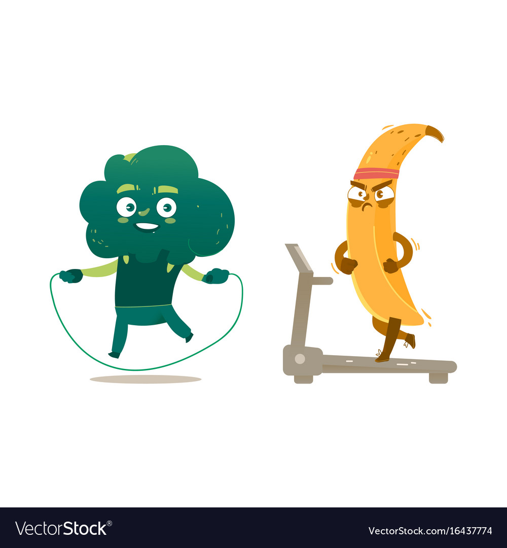 Broccoli banana characters doing sport exercises