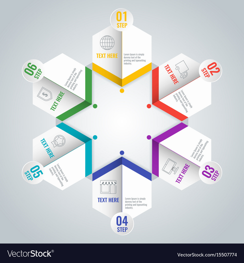Business infographic scheme with six steps in star