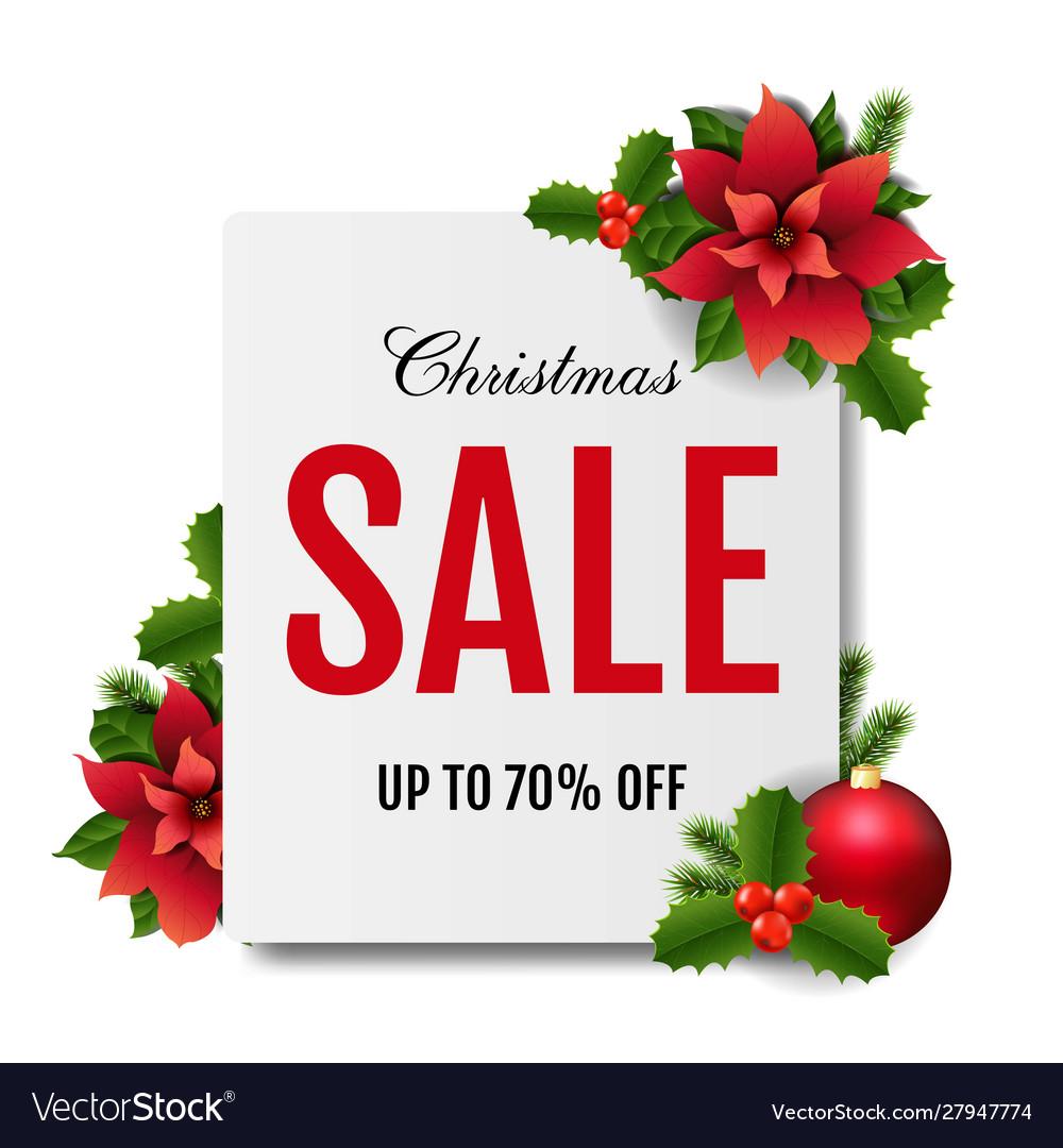 Christmas sale banner with red christmas