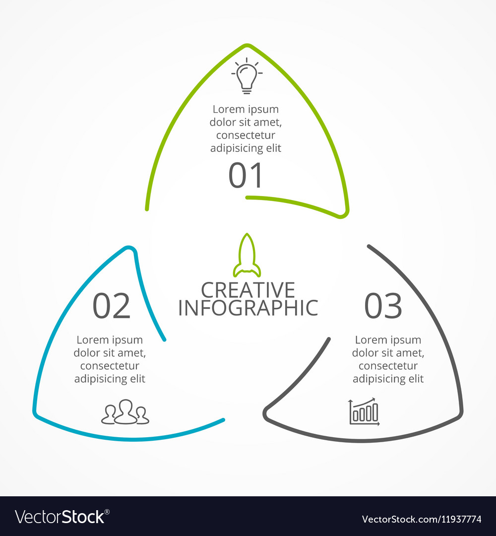 Circle arrows triangle infographic cycle vector image