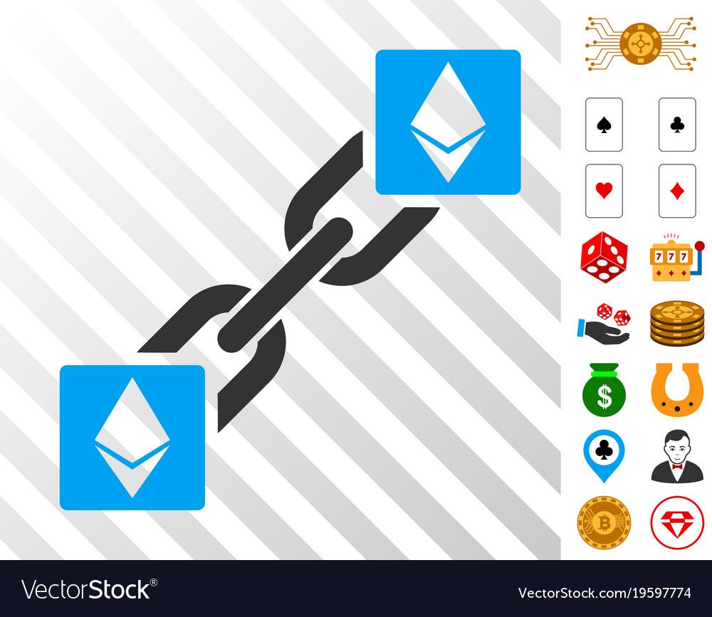 Ethereum Blockchain Icon With Bonus Vector Image
