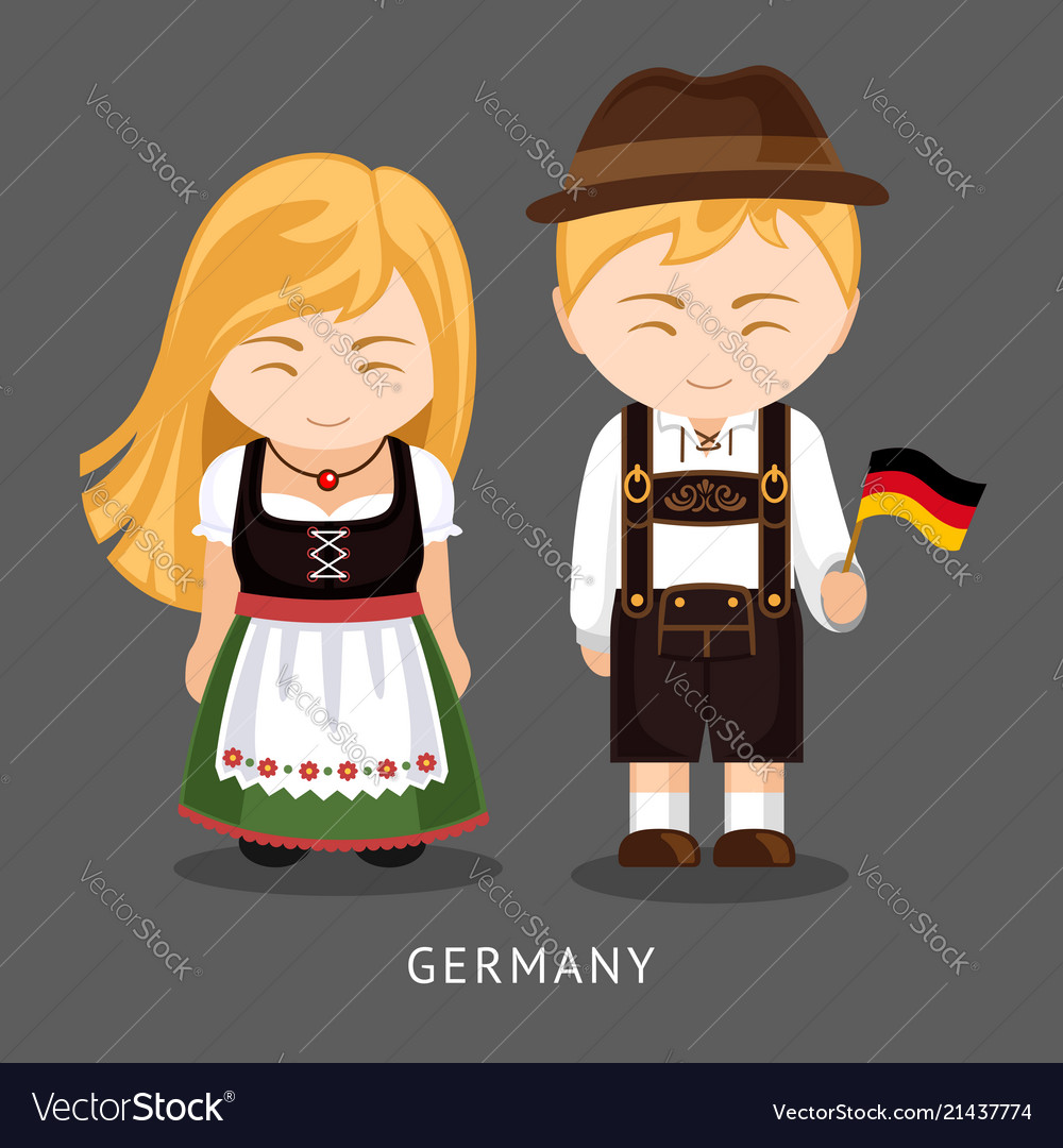 Germans in national dress with a flag