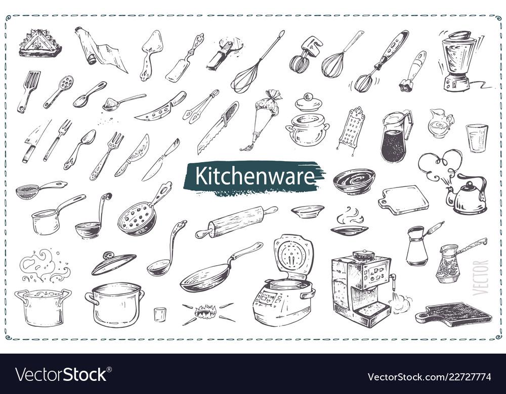 Hand drawn kitchen utencils icons set