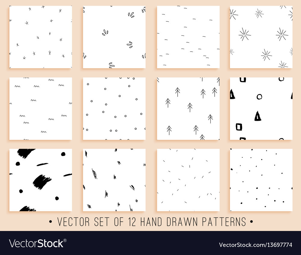 Handdrawn seamless pattern collection