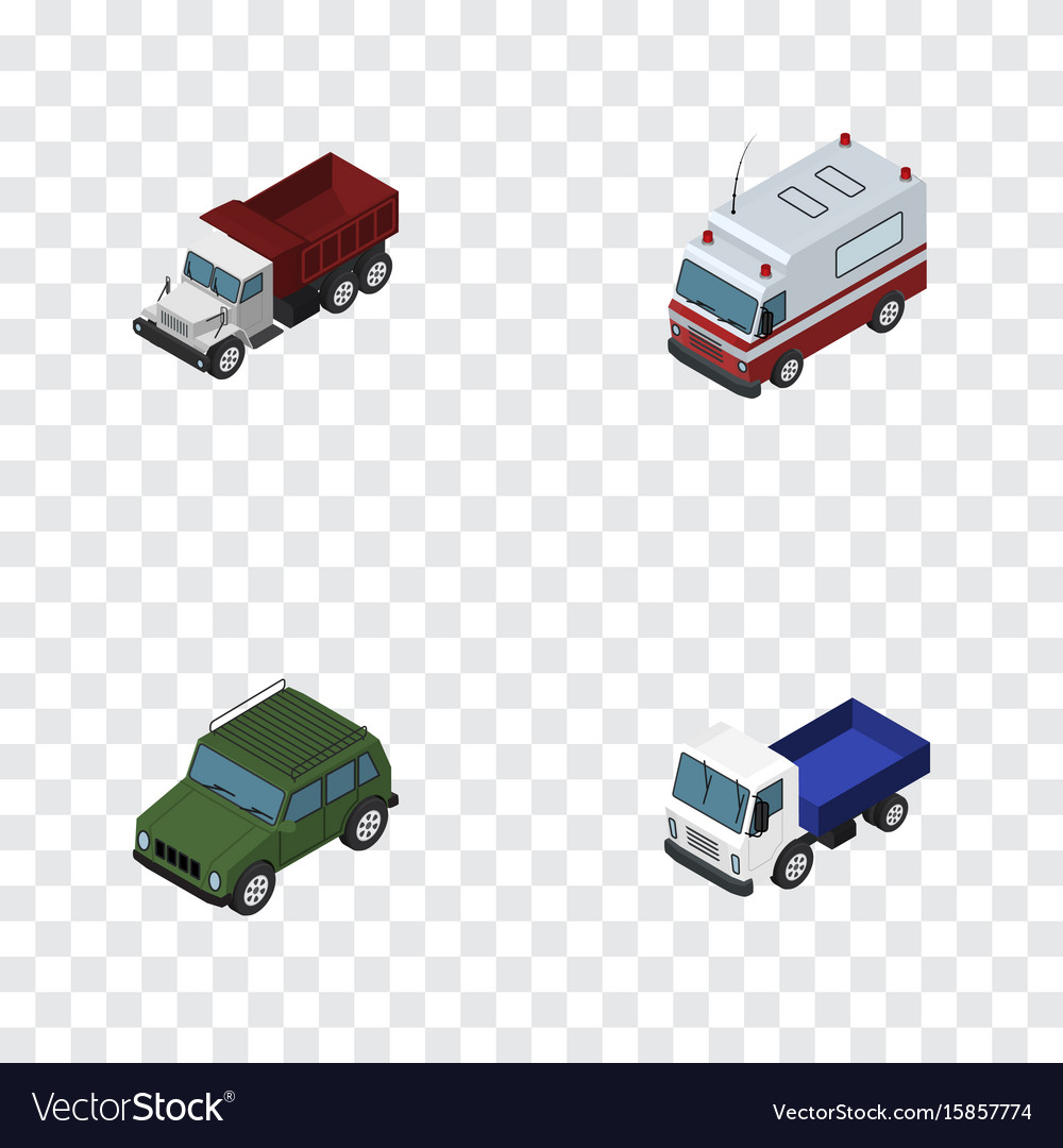 Isometric transport set of freight lorry first vector image