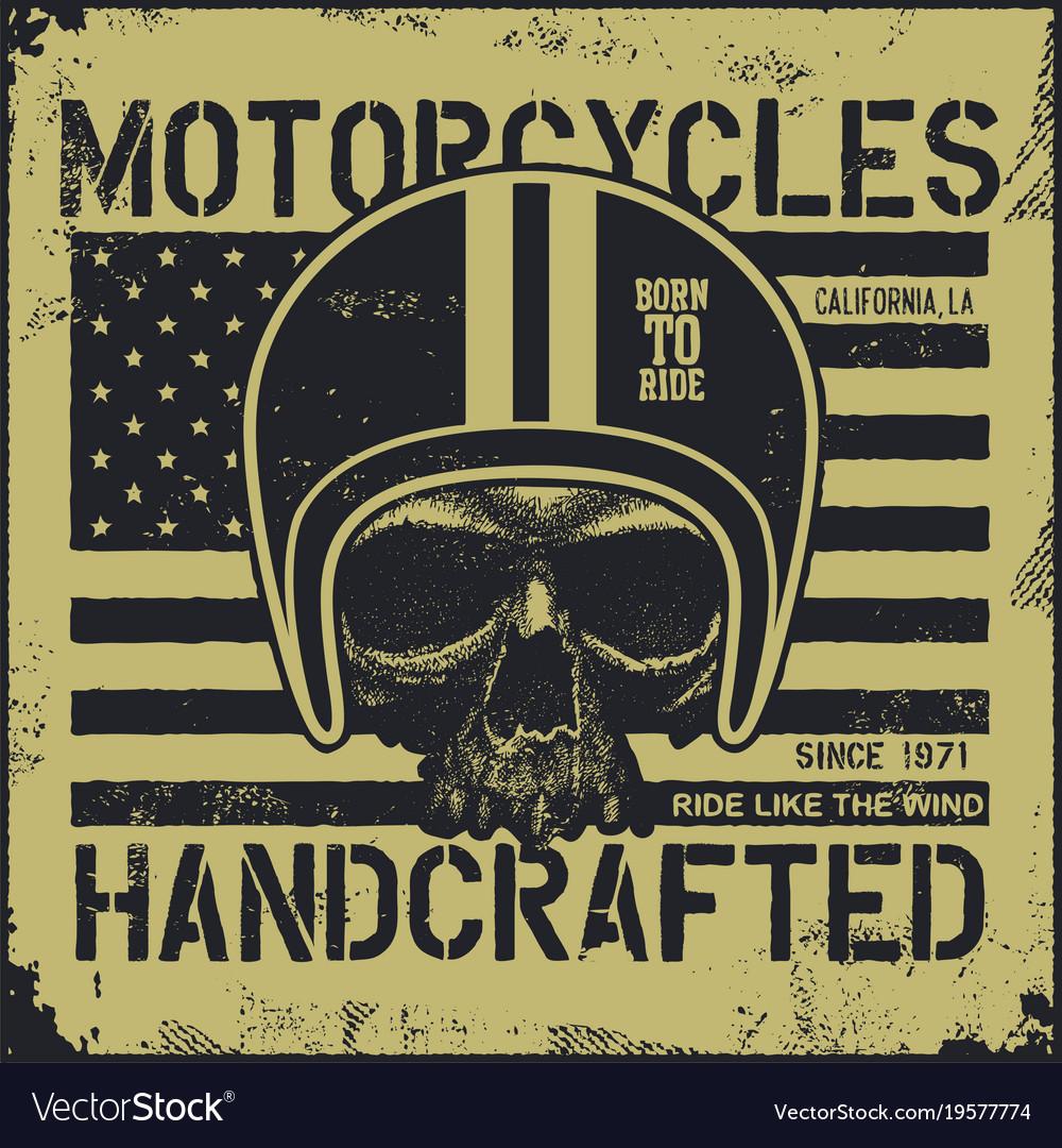 Motor skull vintage design biker