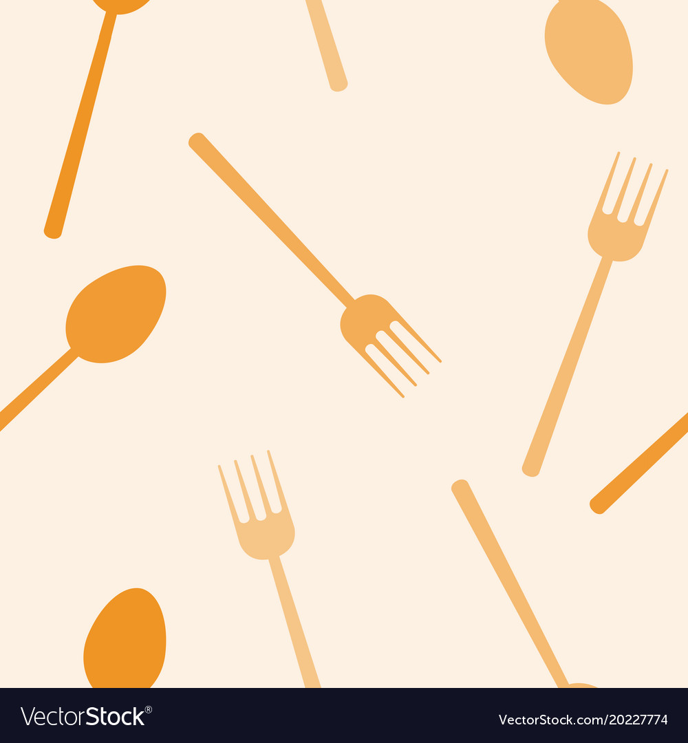 Seamless Pattern Of Spoon And Fork Background Vector Image