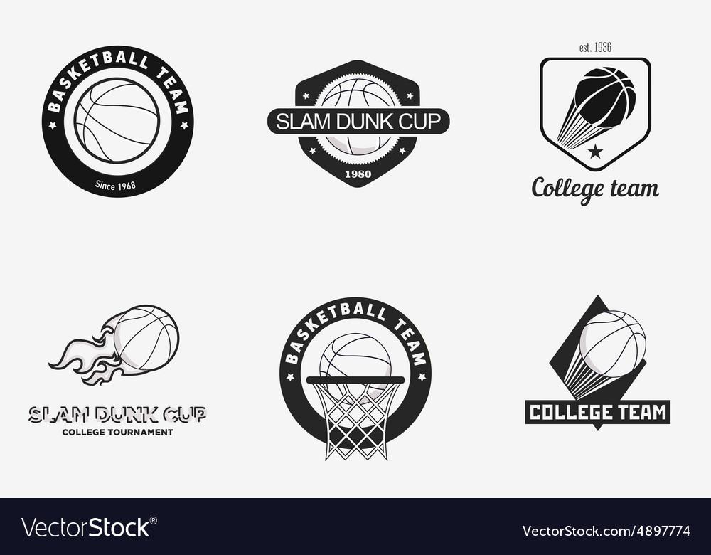 Set of vintage basketball championship logos and