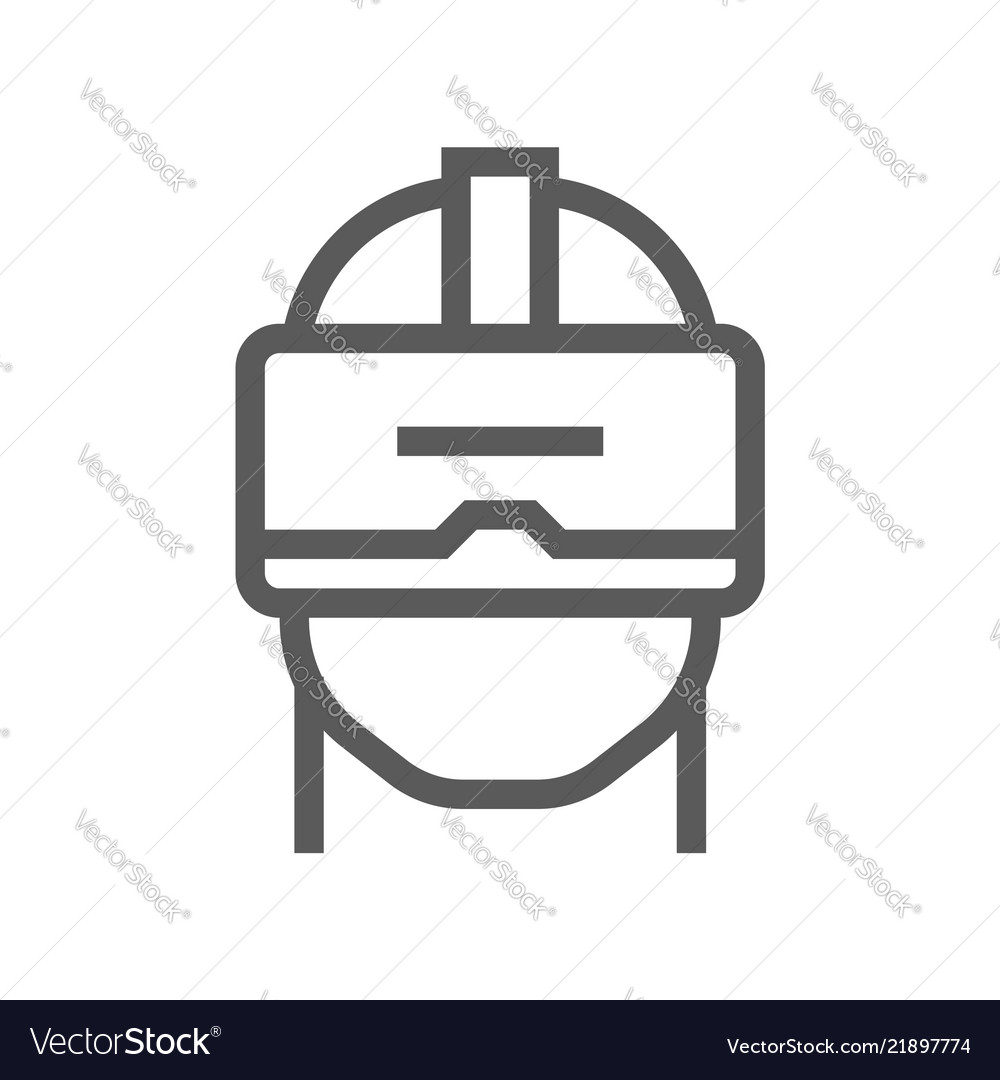 Virtual reality and augmented reality line icon