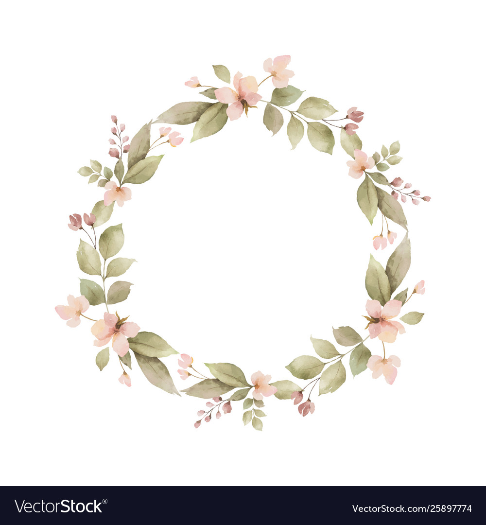 Watercolor wreath with leaves and branches