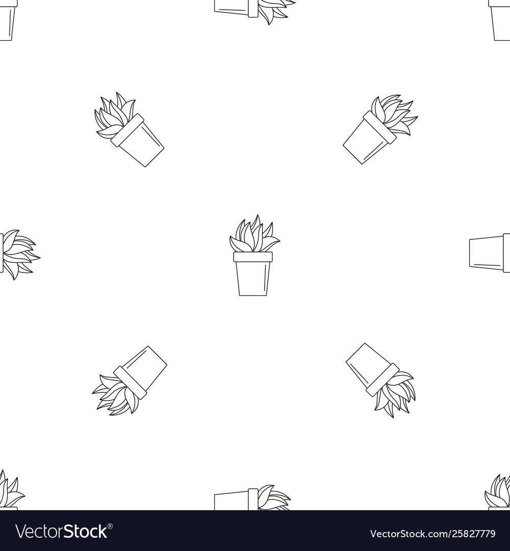 Cactus plant pot pattern seamless