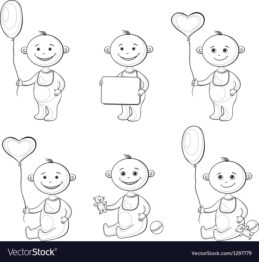 Cartoon children with toys outline