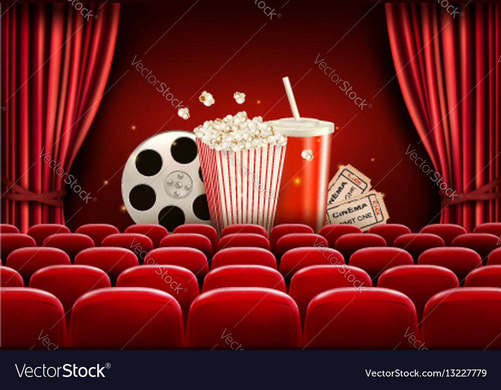 Cinema background with a film reel popcorn drink