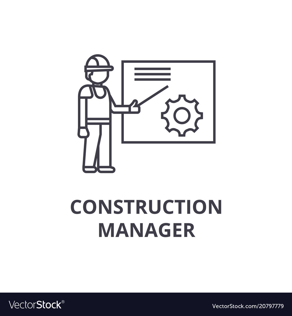Construction manager line icon sign