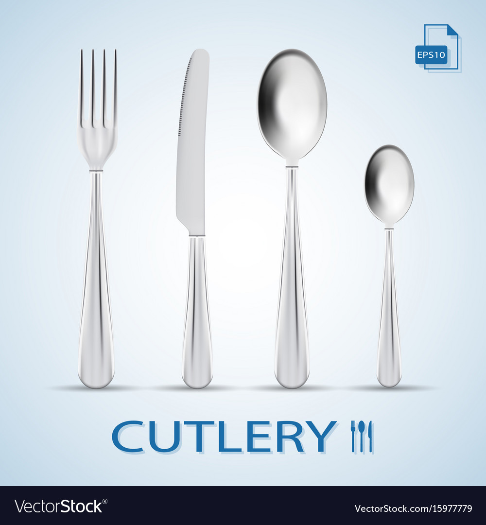 Cutlery set of fork spoon knife and dessert vector image