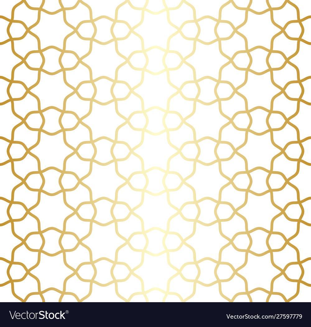 Golden lattice arabic moroccan seamless pattern