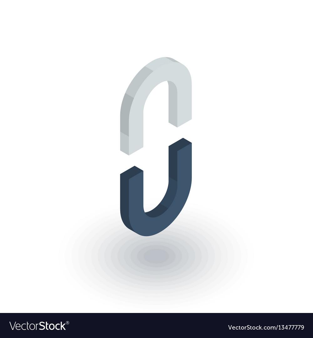 Internet link broken chain isometric flat icon vector image