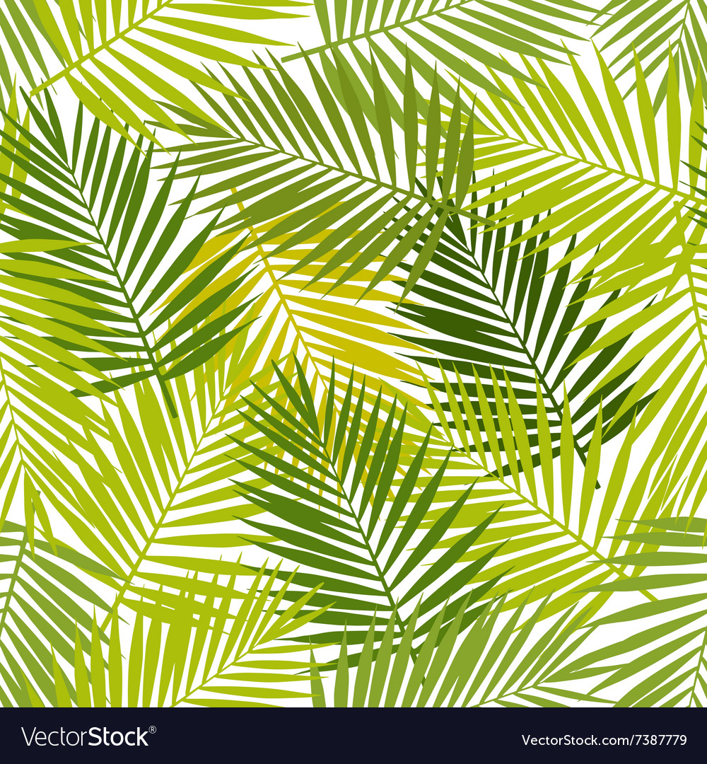 Palm leaf silhouettes seamless pattern Tropical