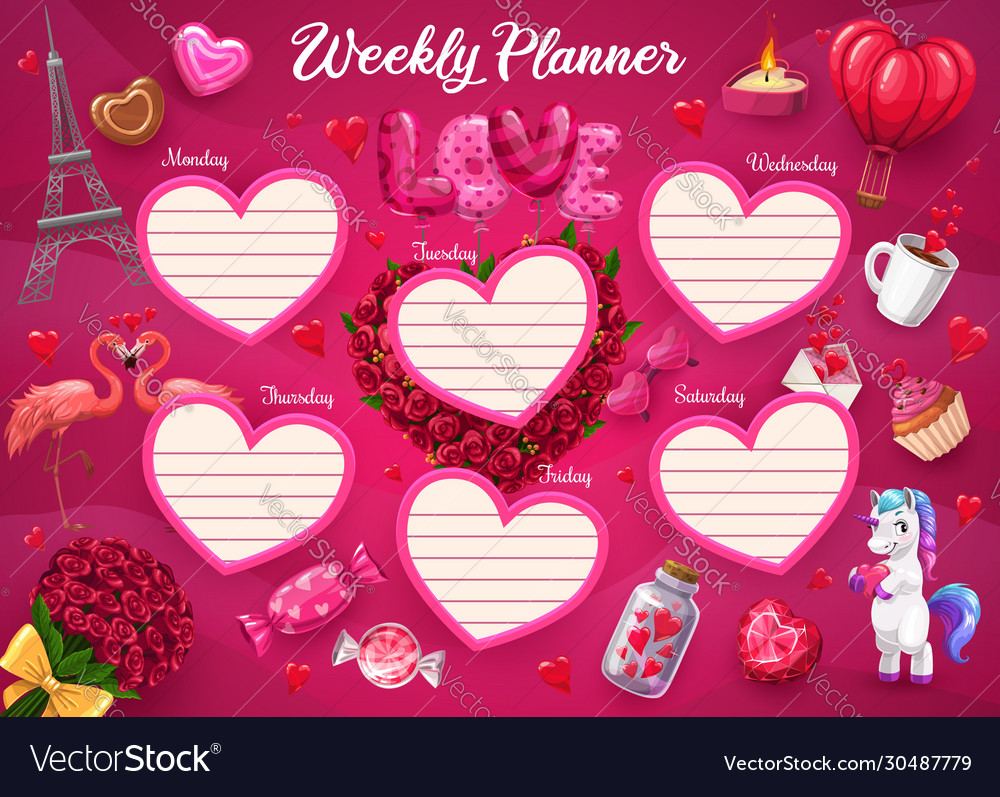 Pink Heart Paris Flower Unicorn Weekly Planner Vector Image