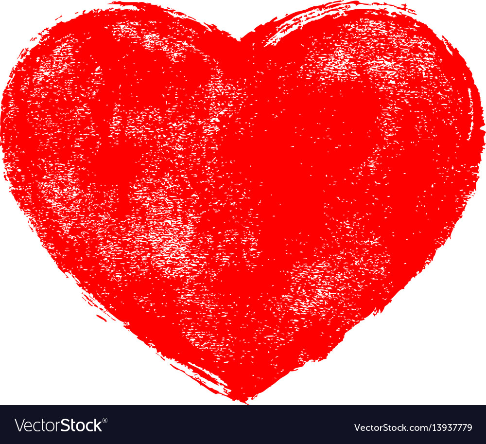 Red heart symbol with texture