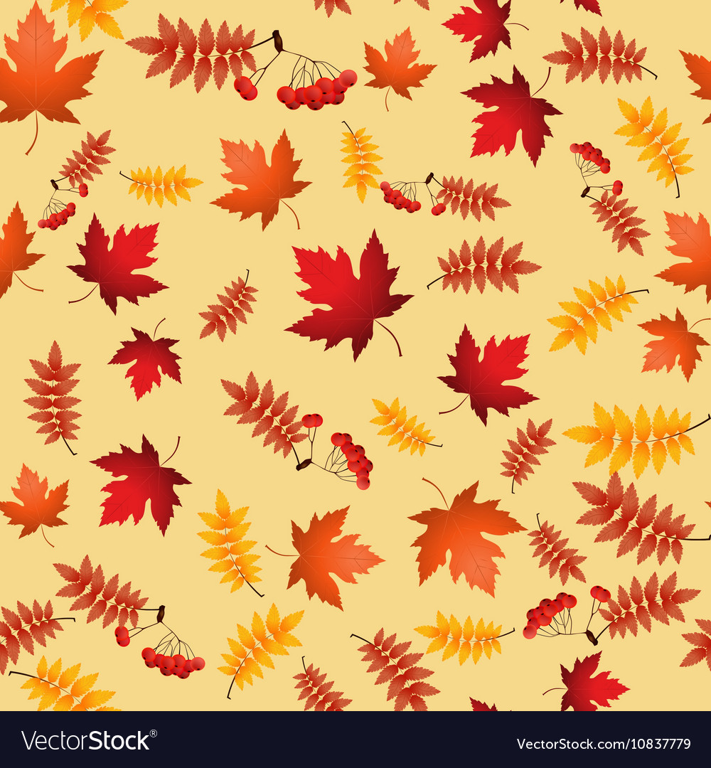 Seamless pattern with red and yellow autumn