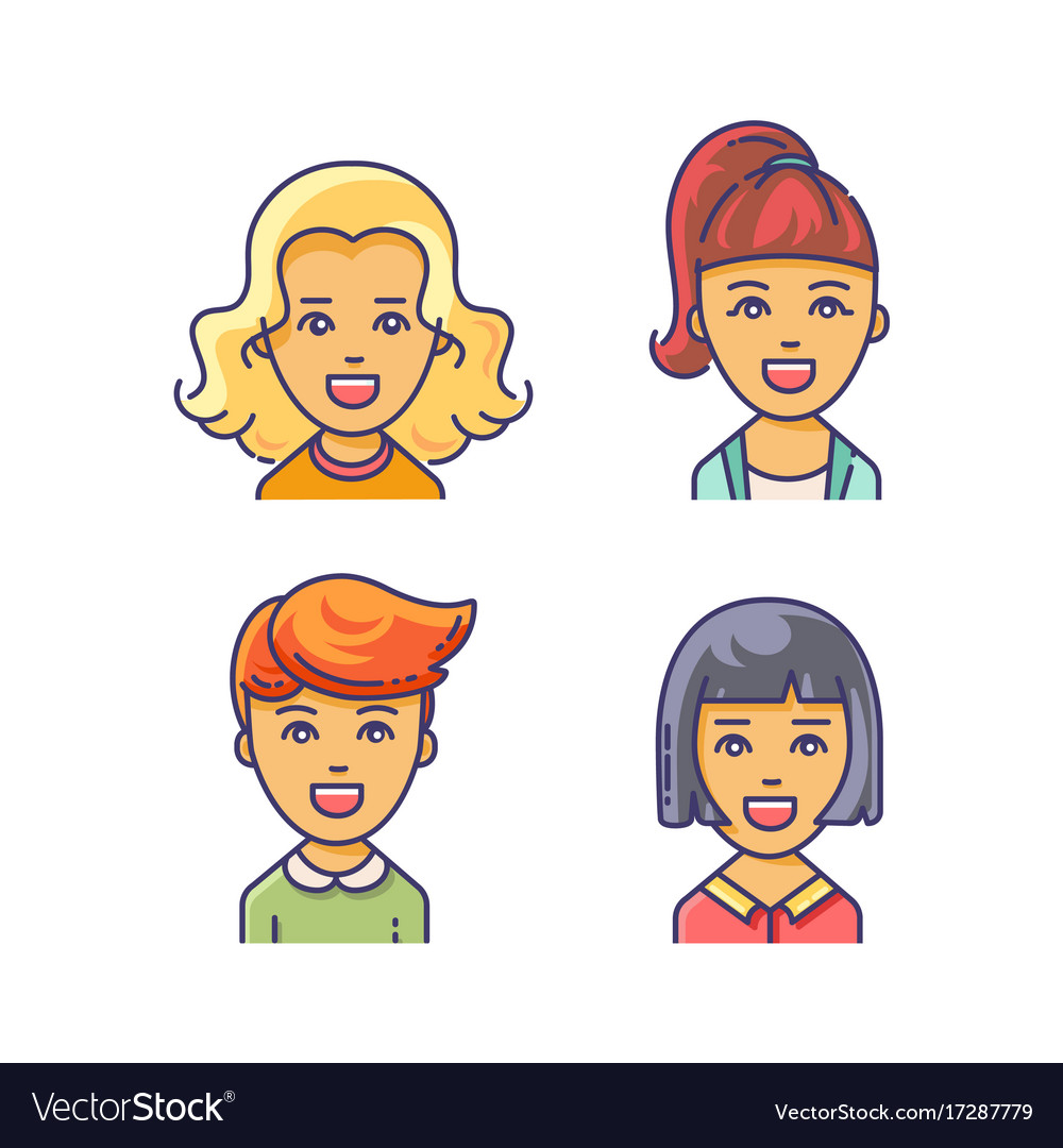 Women avatar icon with different haircuts