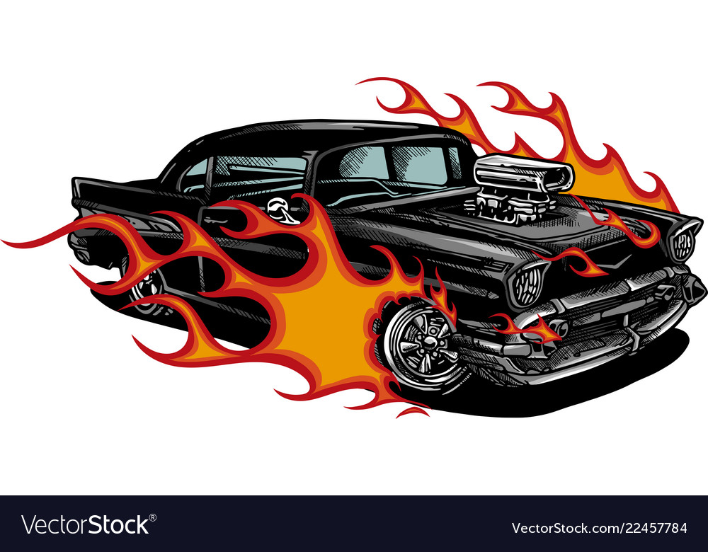 Car muscle old 70s with flames