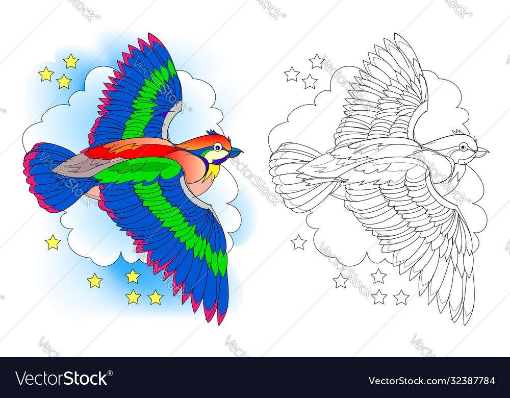Fantasy Fairyland Flying Bird Colorful And Vector Image