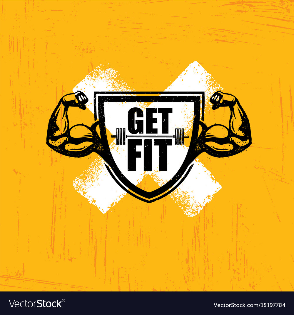 Get fit workout and fitness gym design element