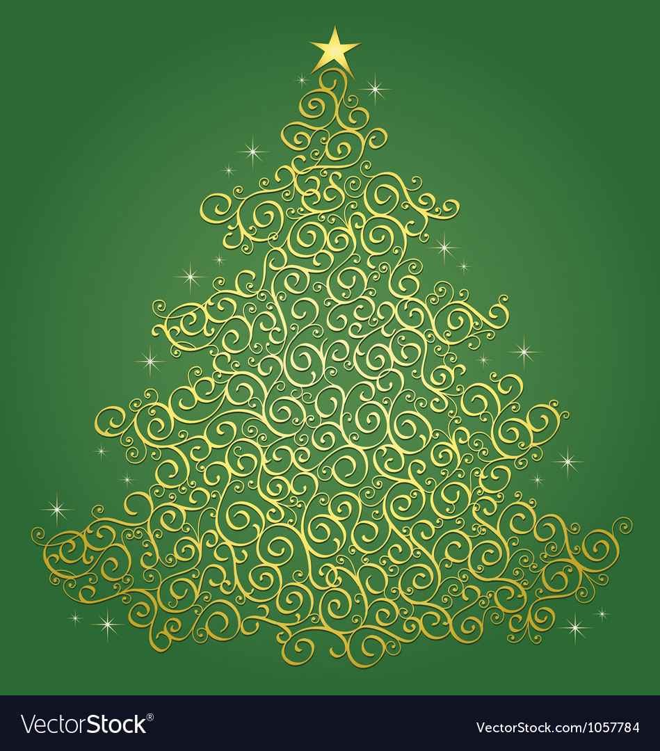 Gold Filigree Christmas Tree Green Background
