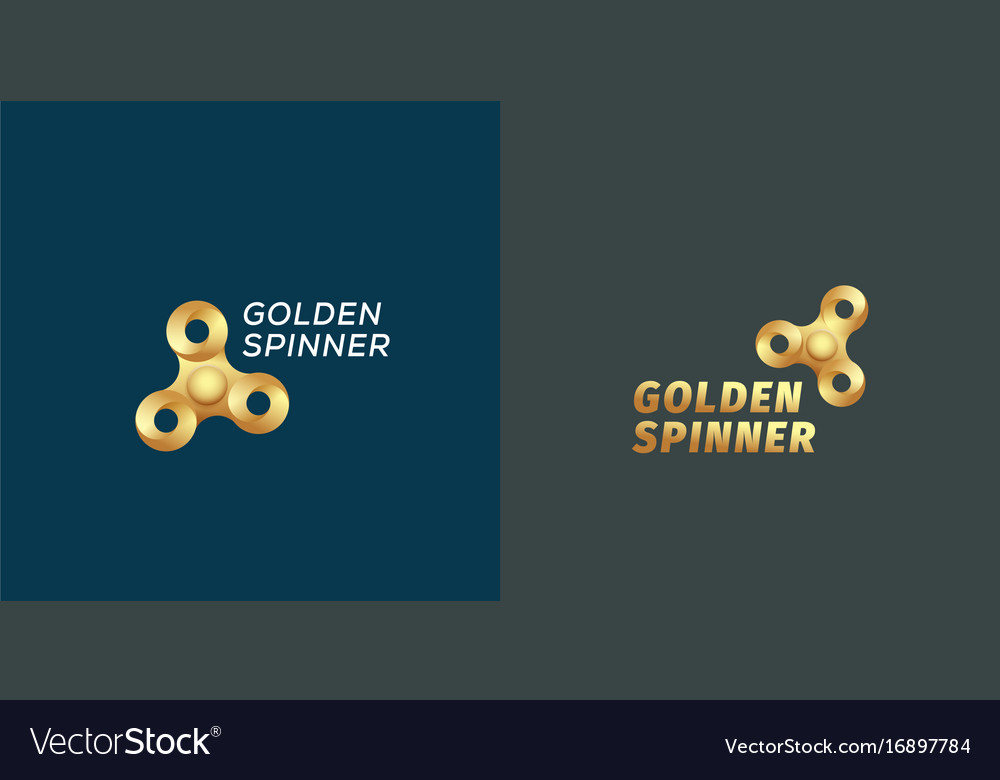 Golden fidget spinners abstract sign