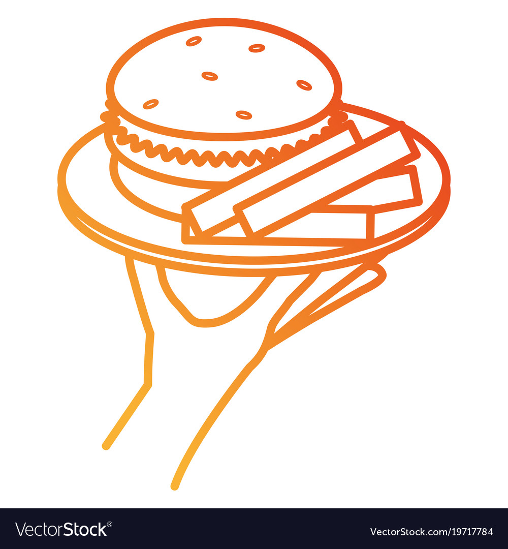 Hand with french fries and burger vector image