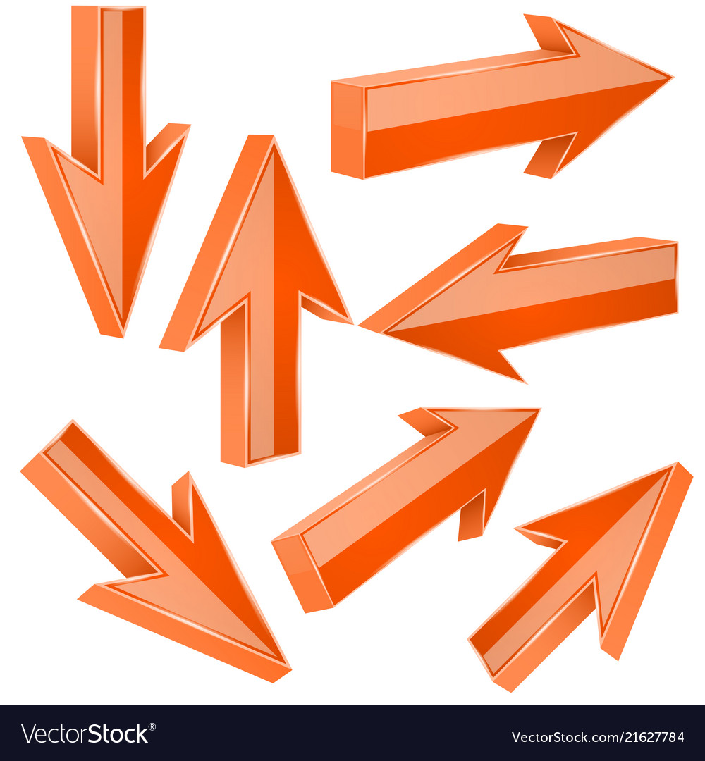 Orange 3d arrows set of shiny straight signs