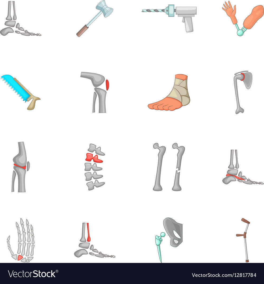 Orthopedic and spine icons set cartoon style